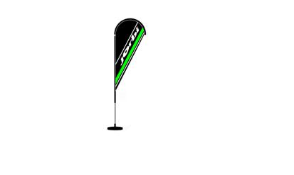 Picture of Indoor Flag Banner c/ base Jorbi 2.0mt x 0.80mt preto/verde