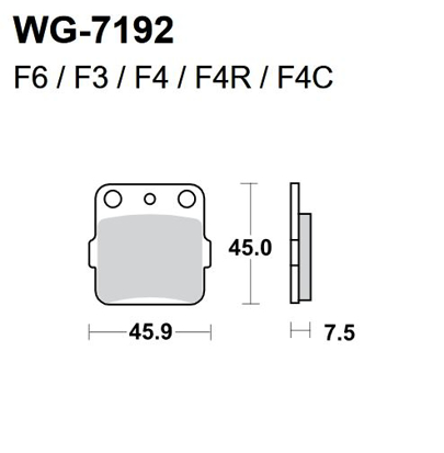 Picture of Pastilhas Travão Disco WRP  WG-7192-F4 - REAR